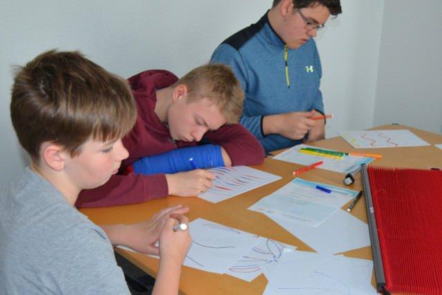 Die jungen Produktdesigner bei der Arbeit