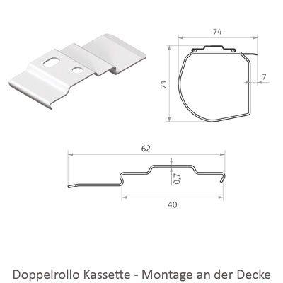 Doppelrollo - Montage Kassette an der Decke