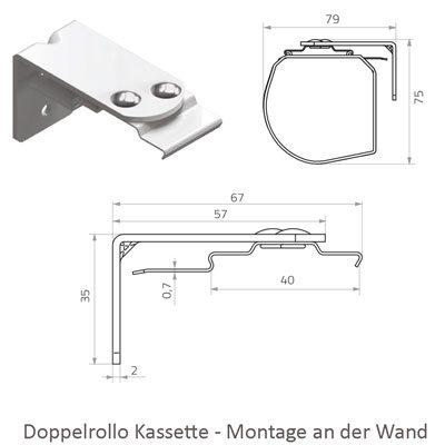 Doppelrollo - Montage Kassette an der Wand
