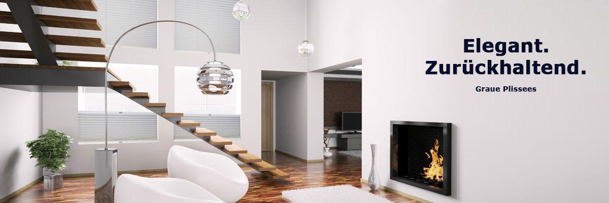 plissees in grau gemustert livoneo. Black Bedroom Furniture Sets. Home Design Ideas