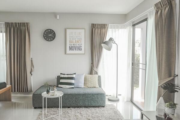 Vorhänge mit Kräuselband Wohnzimmer beige