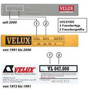 Typenermittlung bei Velux-Dachfenster