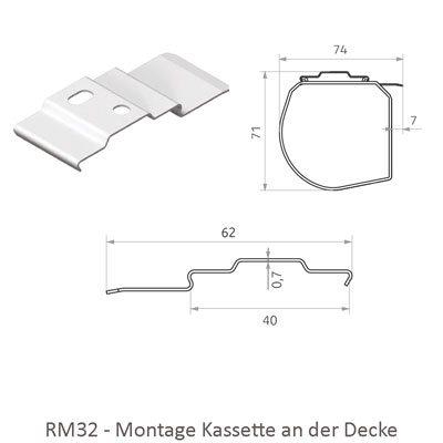 Rollo RM32 mit Kassette - Montage an der Decke