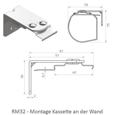 Rollo RM32 mit Kassette - Montage an der Wand