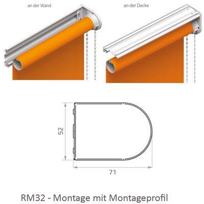 Rollo RM 32 - Montage mit Montageprofil