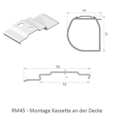 Rollo RM45 mit Kassette - Montage an der Decke