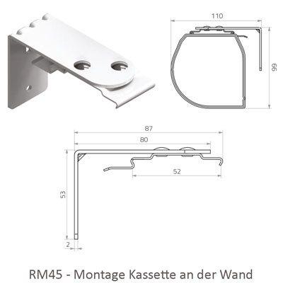 Rollo RM45 mit Kassette - Montage an der Wand
