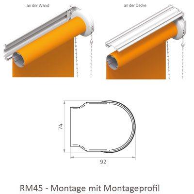Rollo RM45 - Abmessungen Montageprofil