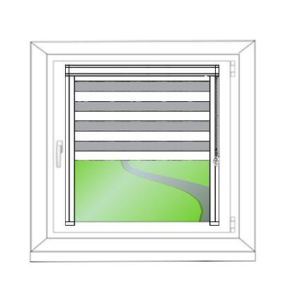 Doppelrollo Mini zum Kleben - Ansicht am Fenster