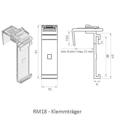 Rollo RM18 Abmessungen Universalklemmträger