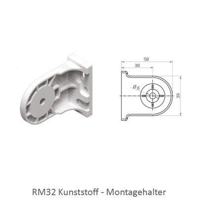 Rollo RM 32 - Abmessungen Montagehalter Kunststoff